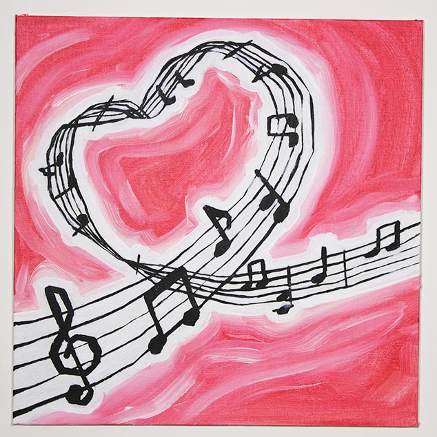 music staff heart