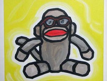 Sock Monkey In Buddy Holly Glasses