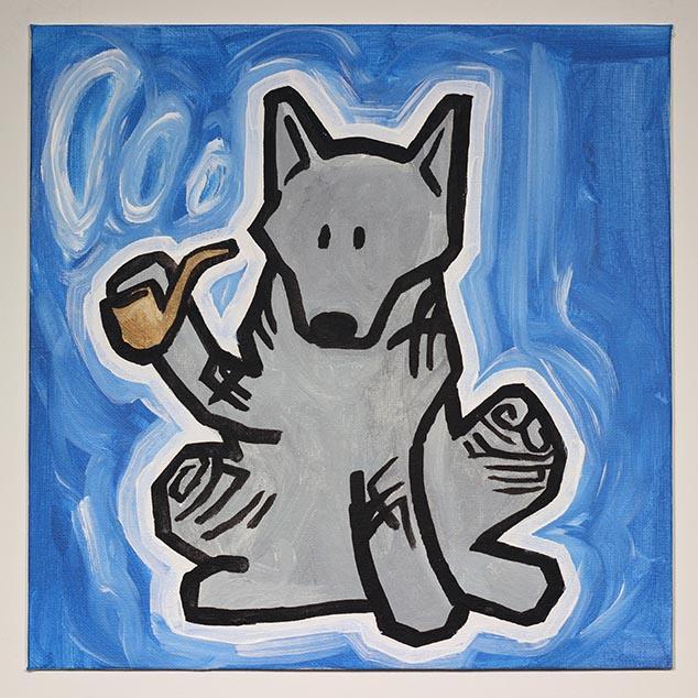 Wolf With Tribal Tattoos Smoking Pipe
