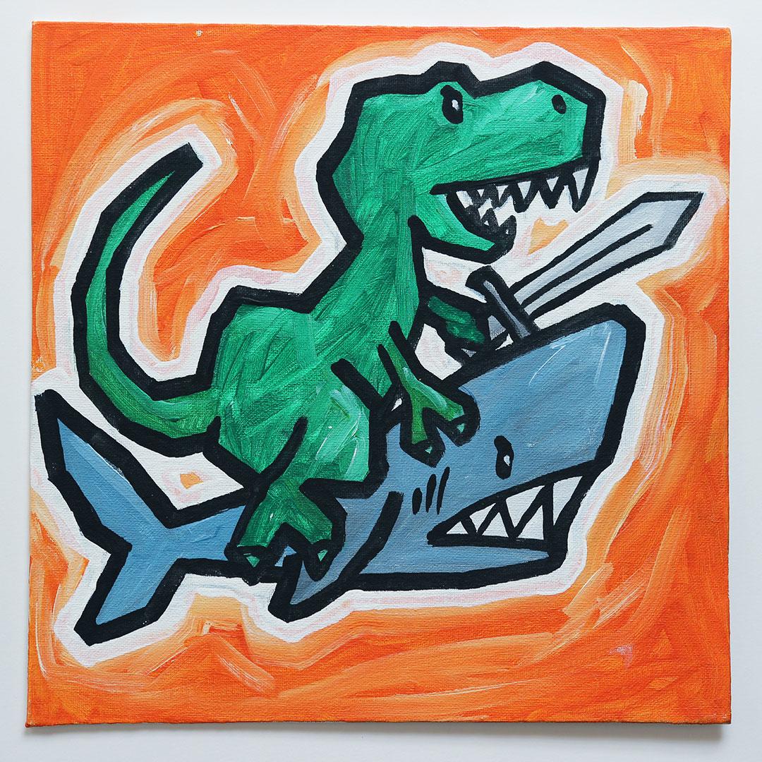 Tyrannosaurus Rex Holding a Sword Riding a Shark