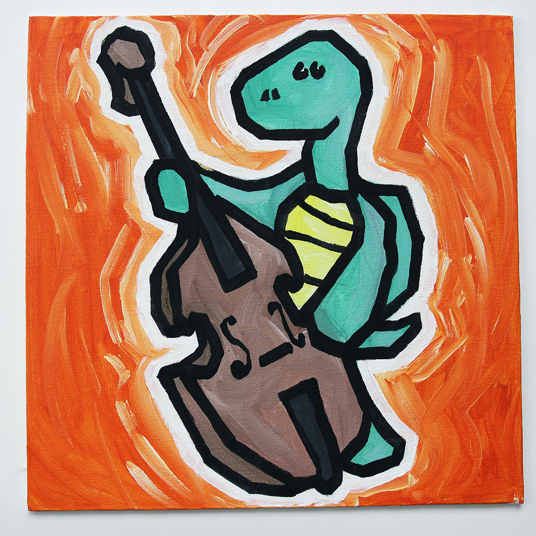 Turtle Playing Double Bass