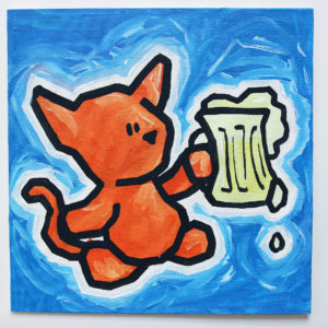 cat with beer - Free Painting Pictures
