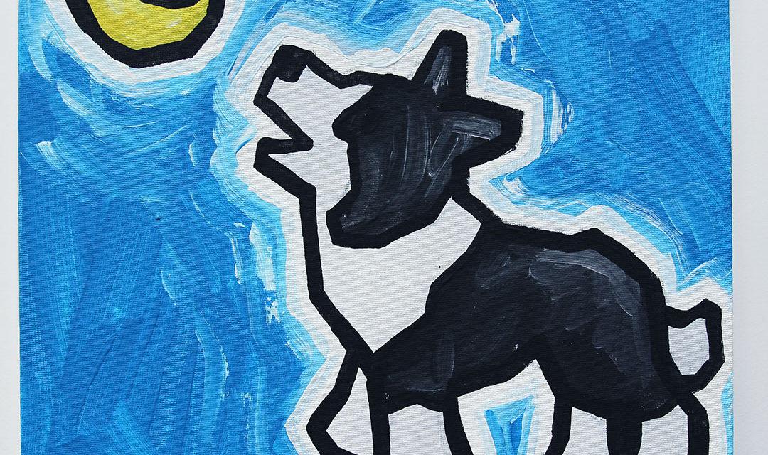 Dog Howling at Moon